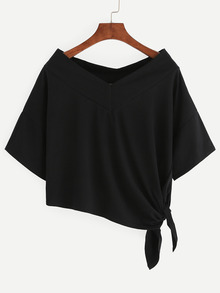 Black Side Tie Drop Shoulder Asymmetric T-shirt