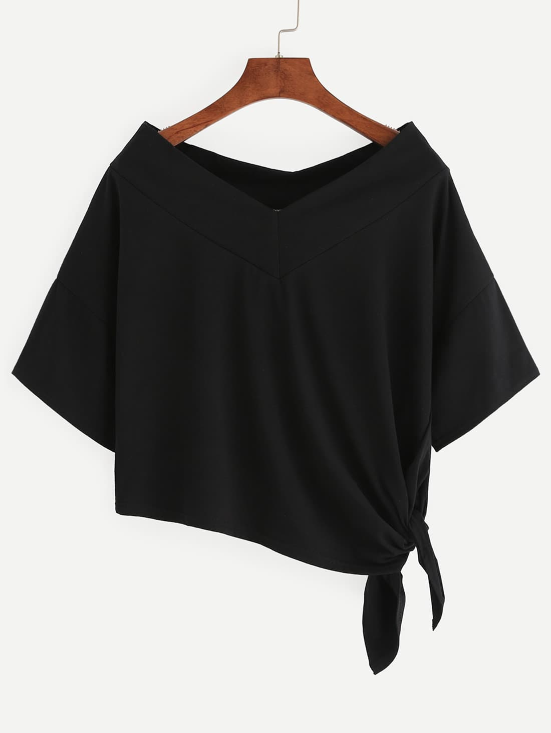 Black Side Tie Drop Shoulder Asymmetric T-shirt RTSH160614124