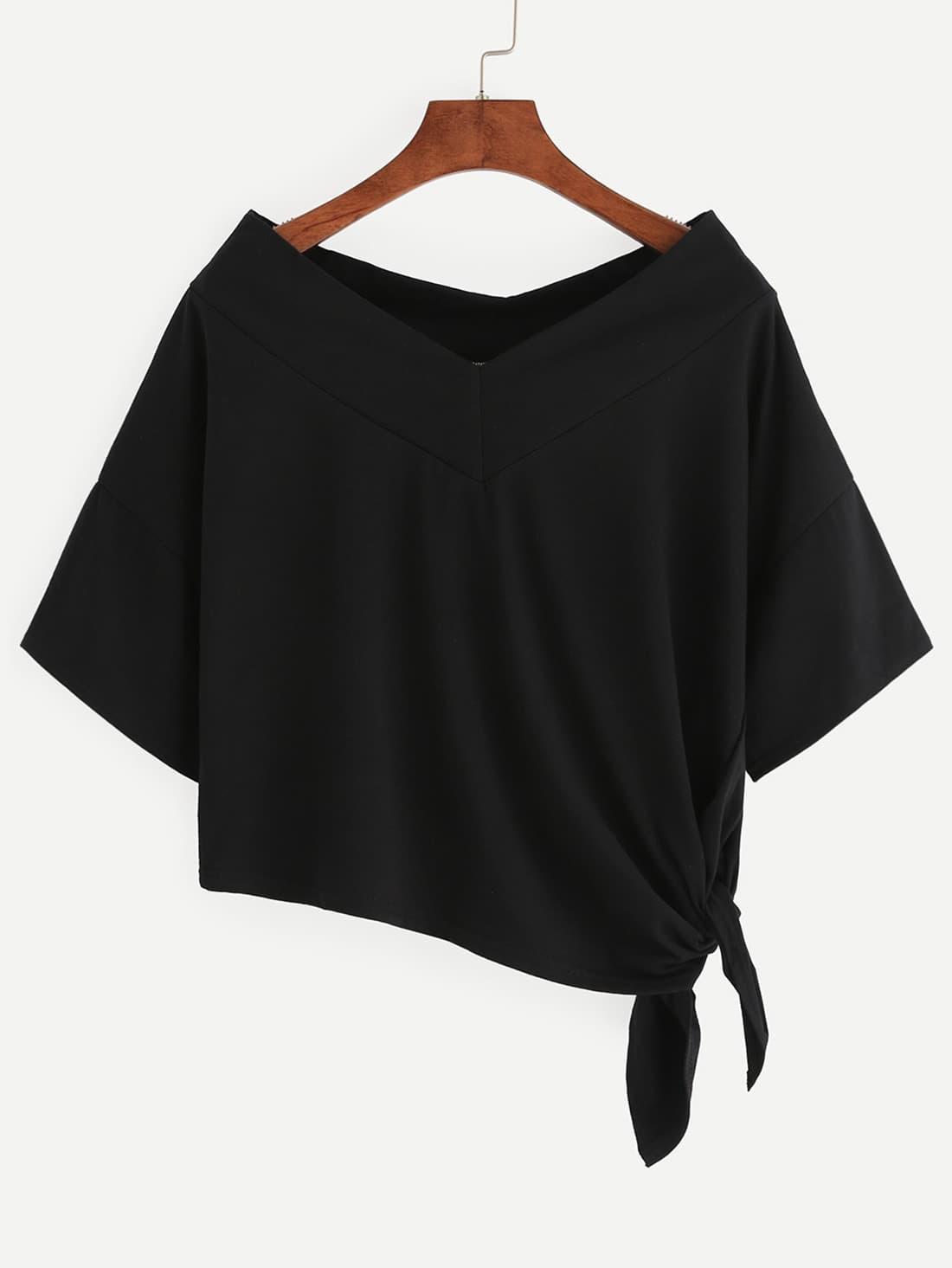 Drop Shoulder Side Tie Asymmetric T-shirt RTSH160614124