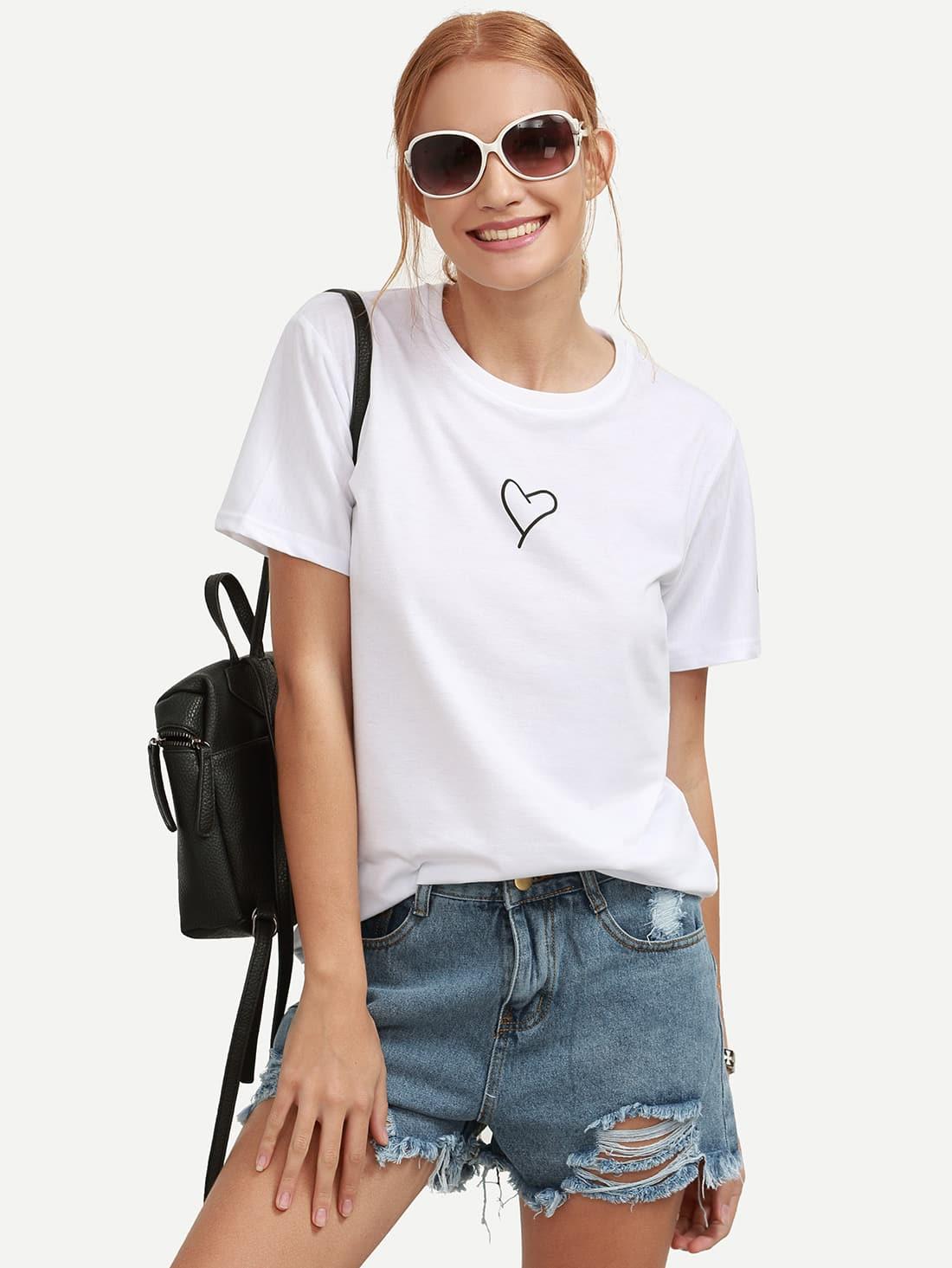 Фото Heart Print T-shirt. Купить с доставкой