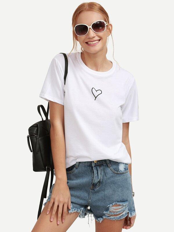 Белая футболка с принтом Heart, Lorena