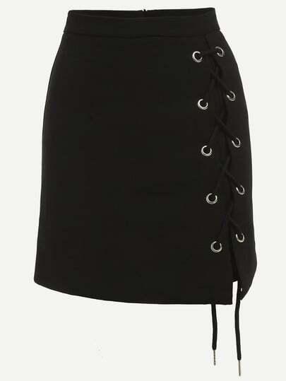 Black Eyelet Lace-Up Side Pencil Skirt