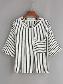 Black Vertical Striped Drop Shoulder Knit T-shirt