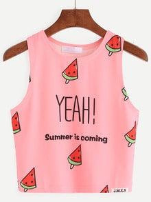Watermelon Popsicle Print Tank Top