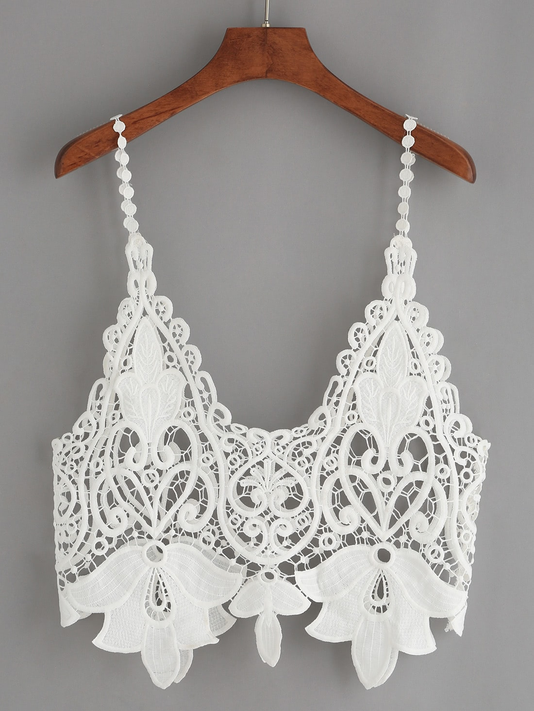 White Hollow Out Crop Crochet Cami Top RVES160613005