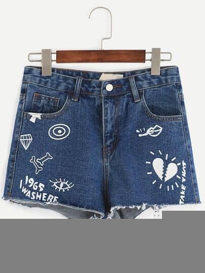 Blue Letter Print Denim Shorts