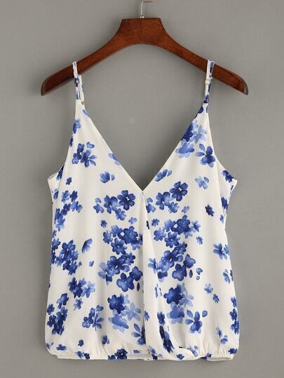 Blue Floral Print Wrap Cami Top