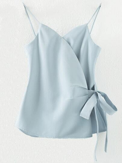Light Blue Spaghetti Strap Bow Side Wrap Cami Top