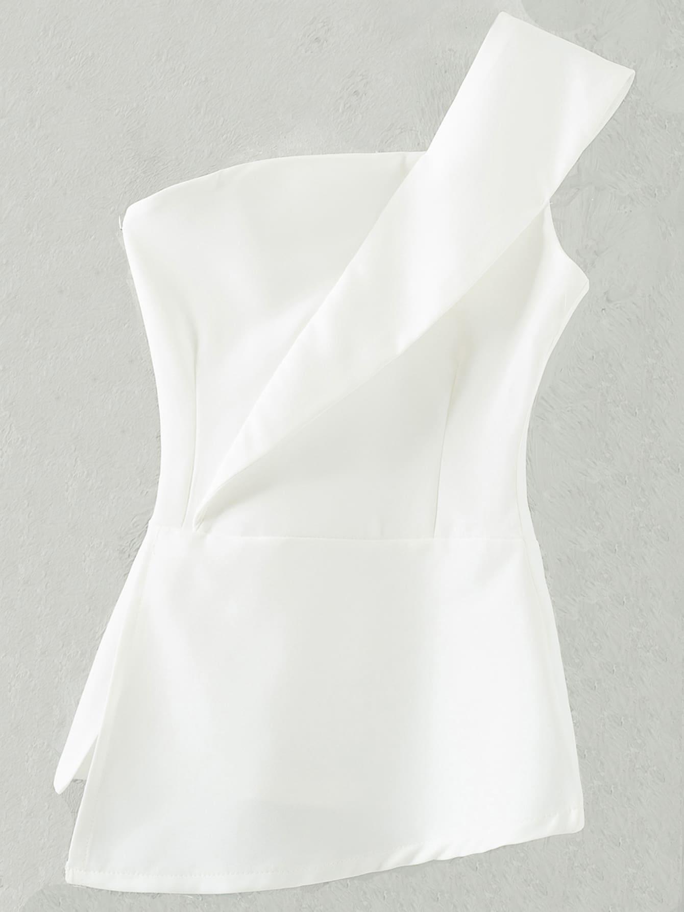 Фото Zipper Bandeau One Shoulder Top. Купить с доставкой