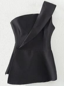Black Zipper Bandeau One Shoulder Blouse