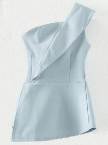 Light Blue Zipper Bandeau One Shoulder Top