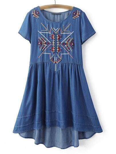 Dark Blue Embroidery Dipped Hem Dress