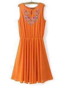 Orange Sleeveless Embroidery Key-hole Front Chiffon Dress