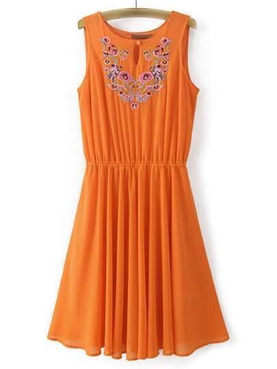 Orange Sleeveless Embroidery Key-hole Front Chiffon Dress