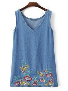 Blue V Neck Sleeveless Embroidery Shift Dress