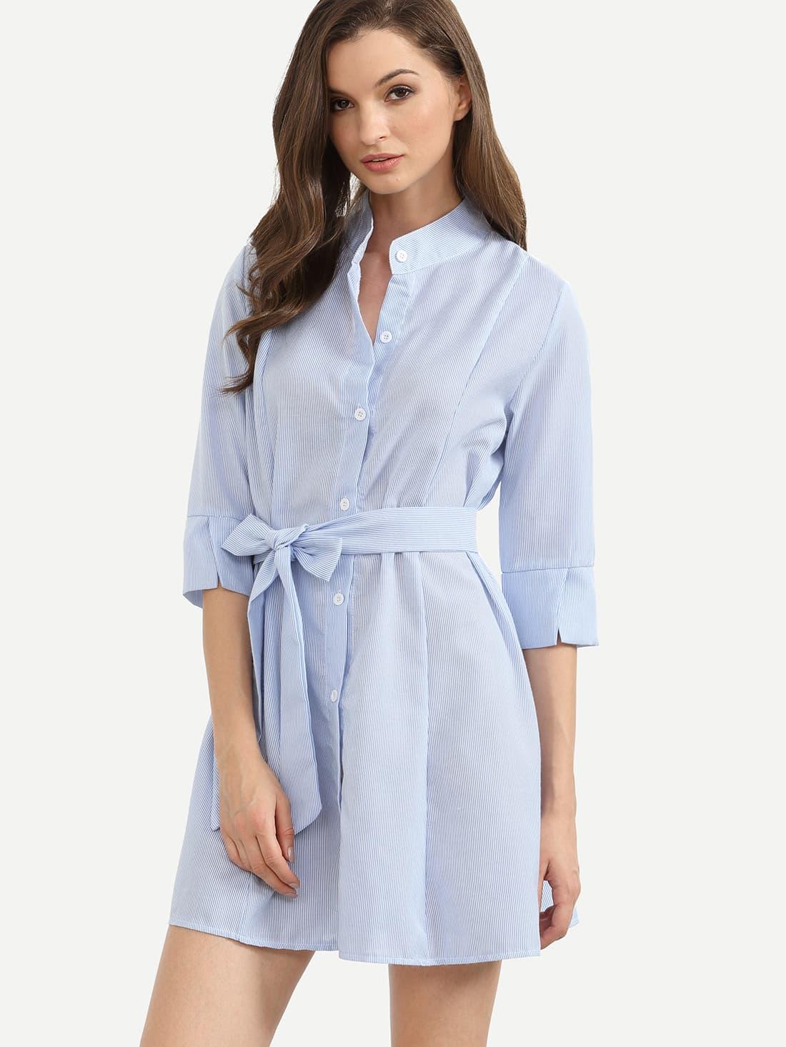 Blue vertical striped self tie shirt dress shein sheinside for Vertical striped dress shirt