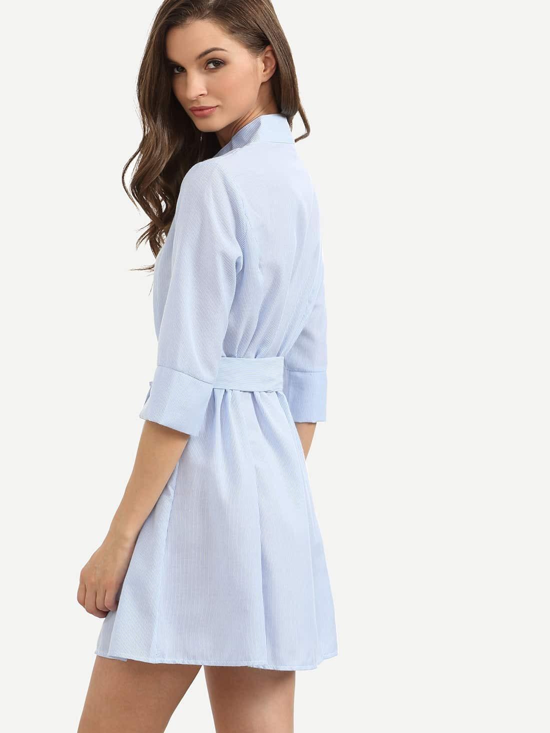 Blue vertical striped self tie shirt dress shein sheinside for Striped tie with striped shirt