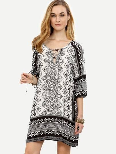 Black White Vintage Print Lace Up Tunic Dress