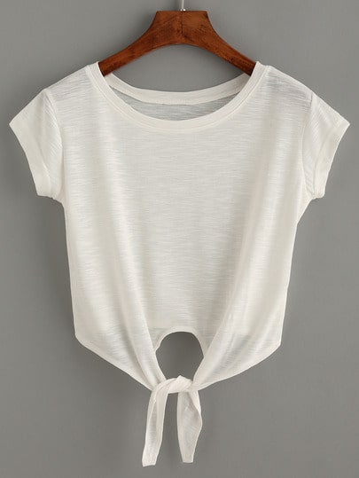 Self Tied Front Crop Top