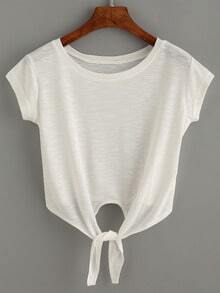 White Knotted Crop T-Shirt