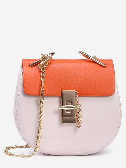 White Contrast Flap Chain Saddle Bag