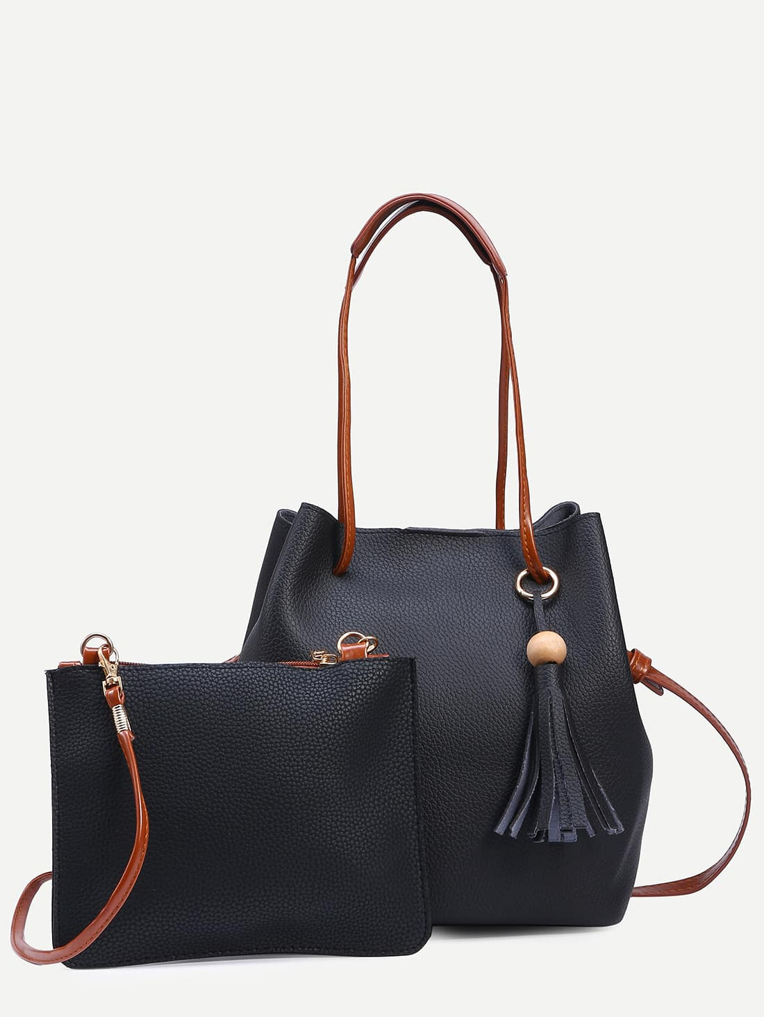 Black Tassel Trim Bucket Bag With Crossbody Bag