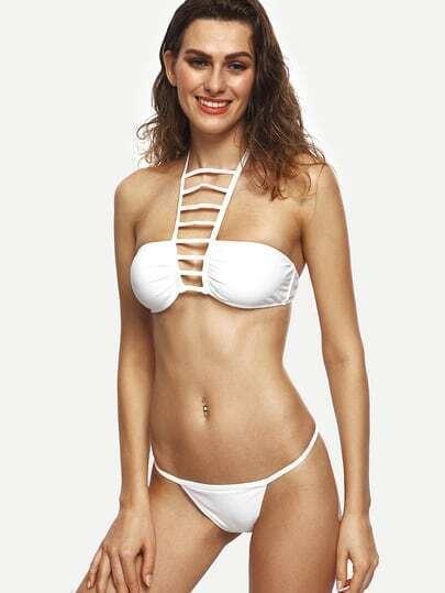White Ladder Cut Halter Neck Bikini Set