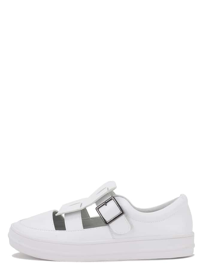 Купить со скидкой White Round Toe Buckle Cutout Thick-soled Sneakers