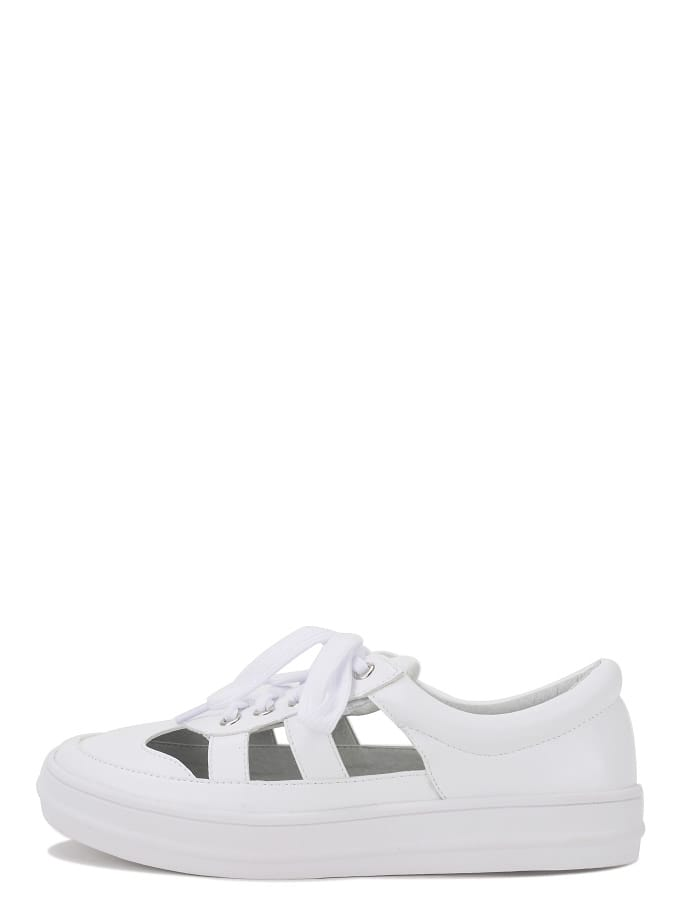 Buy White Round Toe Cutout Thick-soled Lace-up Top Loafers