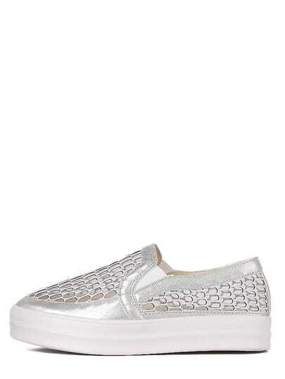 Silver Round Toe Mesh Hollow Thick-soled Slip-on Sneakers