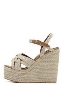 Apricot Peep Toe Buckle Baided Wedges
