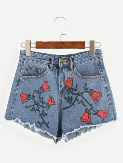 Blue Rose Print Raw Hem Denim Shorts