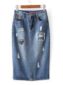 Blue Pockets Zipper Applique Denim Midi Skirt