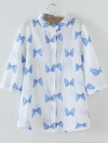 White Half Sleeve Band Collar Bow Printed Blouse