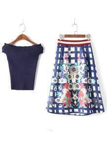 Navy Off The Shoulder Shirt With Floral Plaid Skirt