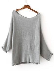 jersey hombro drapeado tejido -gris