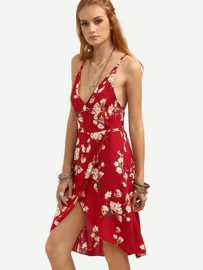 Red Flower Print Crisscross Wrap Cami Dress