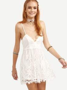 White Lace Up Lace Cami Dress