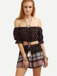 Black Vintage Print Off The Shoulder Top With Shorts
