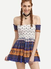 Ruffle Navy Off The Shoulder Tribal Print A line Dress