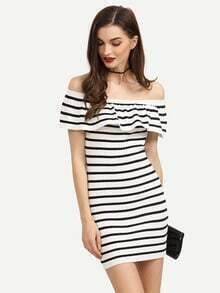 Black White Striped Ruffled Off The Shoulder Dress