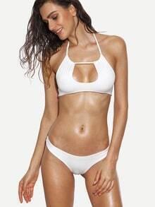 White Keyhole Halter Neck Bikini Set