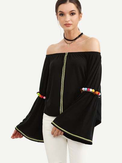 Black Off The Shoulder Bell Sleeve Pom-pom Blouse