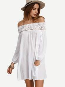White Off The Shoulder Crochet Shift Dress