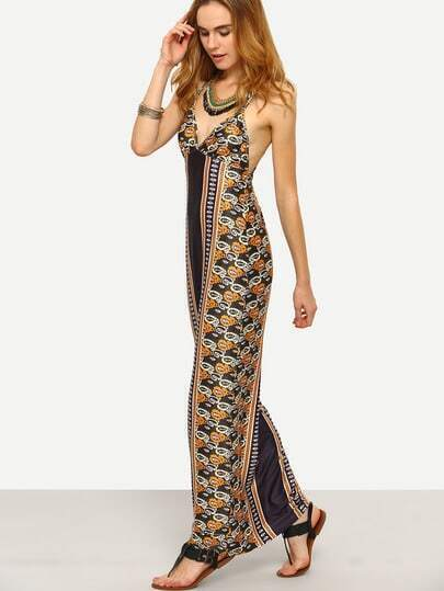 Multicolor Print Crisscross Back Spaghetti Strap Maxi Dress