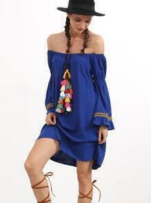 Blue Off The Shoulder Tassel and Woven Tape Dress