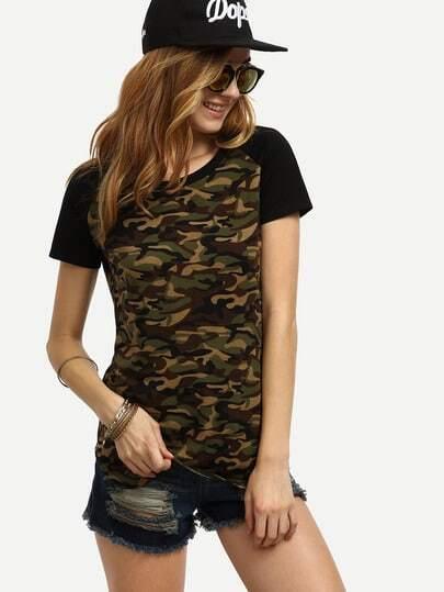 Camouflage Raglan Sleeve T-shirt