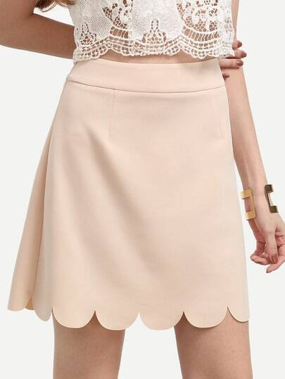 Pink Scalloped Hem A-line Skirt