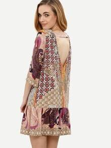 Multicolor Print V Back Shift Dress