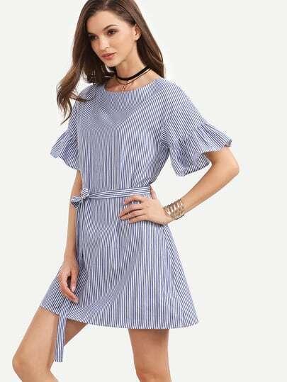 Blue Striped Tie Waist Ruffle Dress